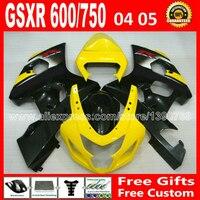 Plásticos para 2004 2005 SUZUKI GSXR 600 750 carenado K4 gsxr600 04 05 gleamy QXH amarillo negro gsxr750 carenados kits de carrocería