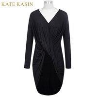 Kate Kasin Casual Soft Comfortable Bodycon Vestidos 2017 Woman Long Sleeve V Neck High Low Hemline