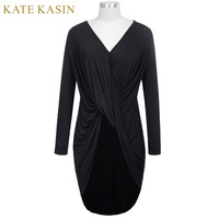 Kate Kasin Casual Soft Comfortable Bodycon Vestidos 2017 Woman Long Sleeve V Neck High Low Hemline