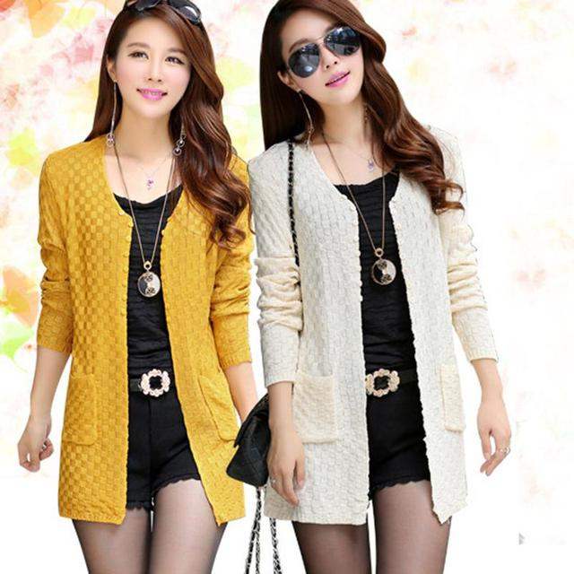 8d8a569388af3 Fashion Women Sweater Long Cardigan Long Sleeve Thin Knitted Cardigan  Female Sweaters Yellow Black Blue 6