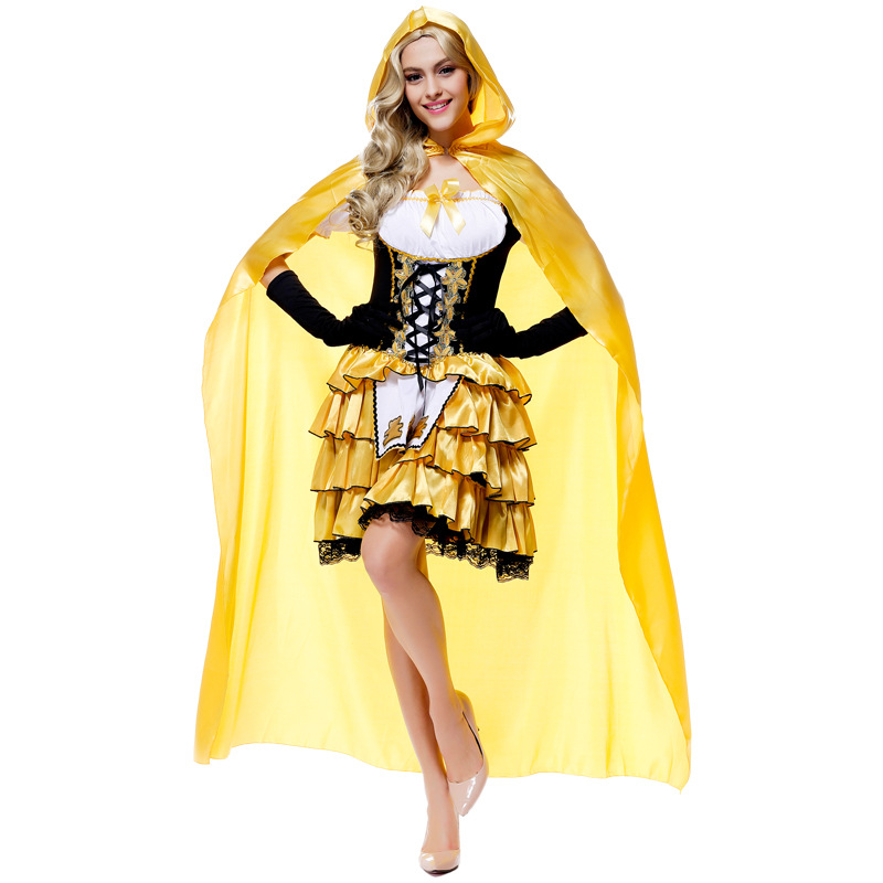 gold long germany beer girl costumes femail goldilocks halloween costumes for women maid uniform dress - Goldilocks Halloween Costumes