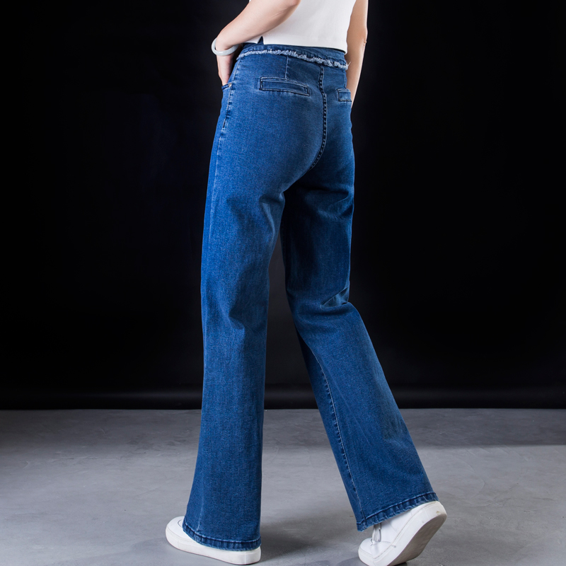 ACRMRAC Women jeans New Spring and autumn High waist blue Stitching Slim Loose Large size Full Length Wide leg pants jeans Women 4