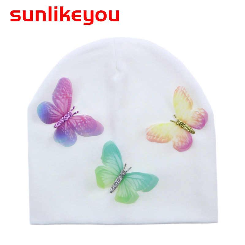 Sunlikeyou สินค้าใหม่เด็กสาวหมวกเด็กทารกแรกเกิดเด็กหมวกผ้าฝ้ายเด็กวัยหัดเดินฤดูใบไม้ผลิผีเสื้อ Beanie Bonnet อบอุ่นเด็กหมวก