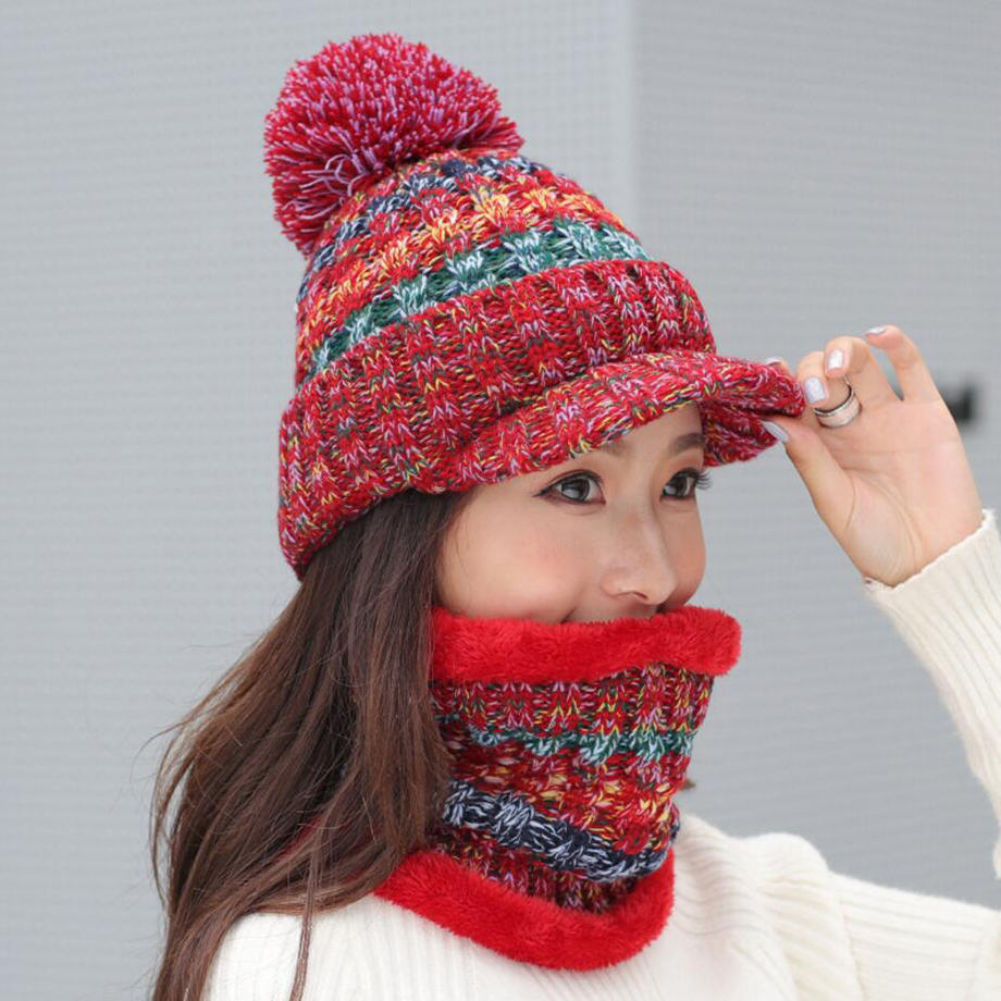 Ring Scarfs Hat Sets Winter Scarves Caps For Women Fashion Girls Hat And Scarf Set Adults Mujer Thick Knitted Scarf Ear Cap
