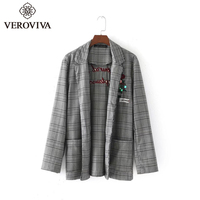 VEROVIVA Autumn Vintage Floral Letter Embroidery Blazers Women Plaid Notched Cotton Patchwork Coat Casual Fashion Slim