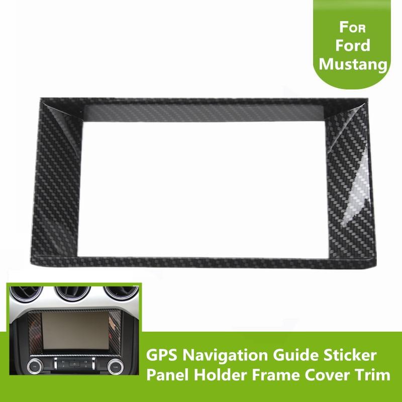 Car Interior Mouldings Carbon Fiber GPS Navigation Guide Sticker Panel Holder Frame Cover Trim For Ford