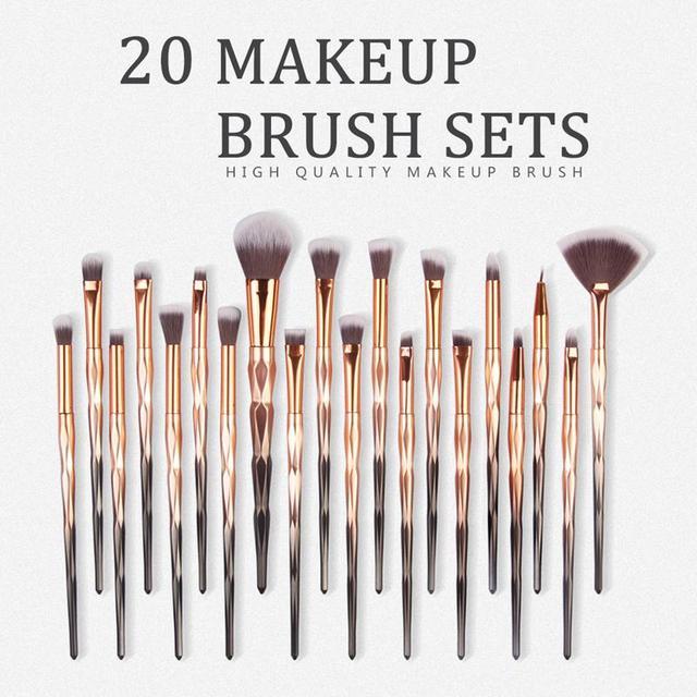 MAANGE 20Pcs Diamond Makeup Brushes Set Powder Foundation Eye Shadow Blush Blending Cosmetics Make Up Brush Tool Kits