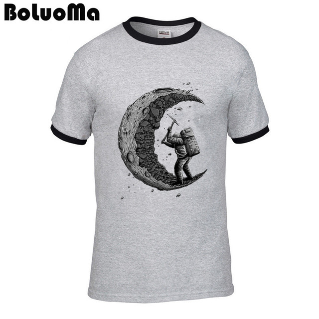 digging the moon T Shirts Unique Adult Short Sleeve T-Shirt 100% Cotton Tee Shirt Design
