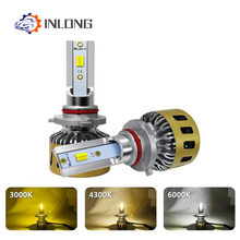 INLONG H4 LED Headlight Bulbs H11 H7 H8 H1 9005 9006 HB4 Tricolor 3000K 4300K 6000K 80W 10000LM Car Led Auto Headlamp Headlight(China)