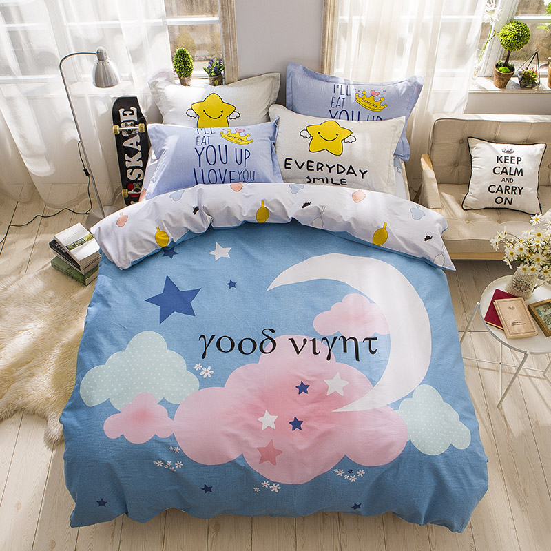 cloud moon star blue 4pcs bedding sets queen size new cotton fabric bedlinens duvet cover sheet