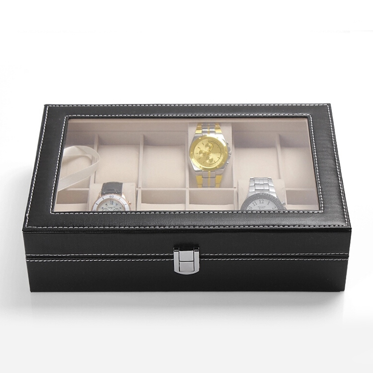 12 Grid Slots PU Leather Luxury Brand Watch Display Box 1