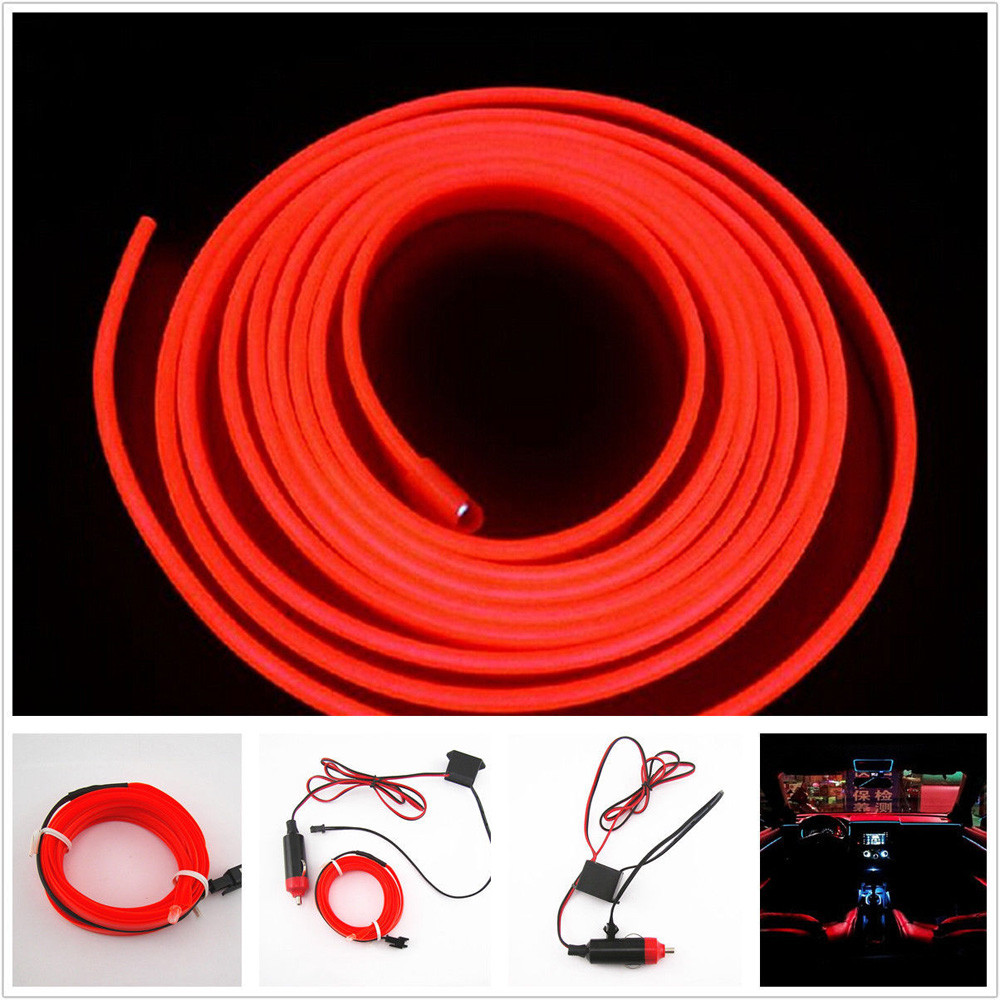 2016 new hot univesal 2m red el wire 12v car interior decor fluorescent neon strip cold light. Black Bedroom Furniture Sets. Home Design Ideas