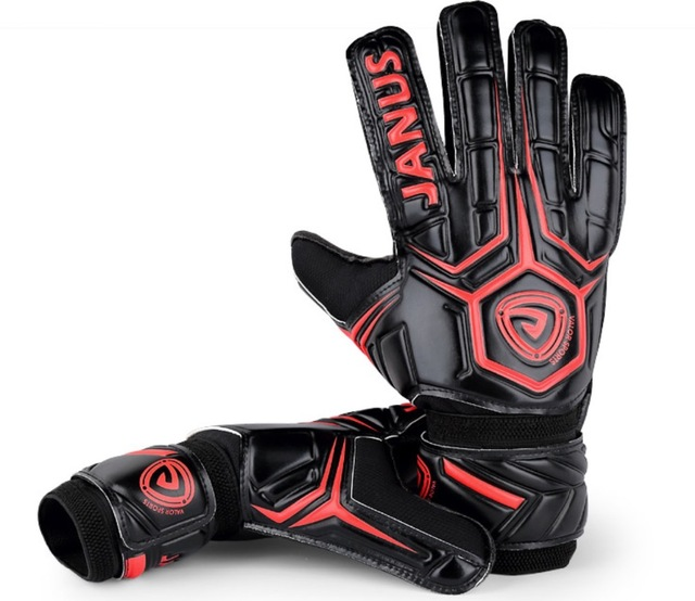 Professional Black Soccer Gloves with Finger Protection