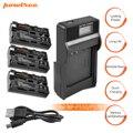 3 упаковки NP-F750 литий-ионная батарея 7,2 В 3000 мАч батарея + 1 порт Аккумулятор chager со светодиодом для Sony NP-F550 NP-F770 F960 F970 L10