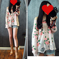 Autumn Fashion ROSE FLOWER Pattern Hole Sweaters Women Ripped Kitting Pullovers