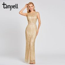 Tanpell lace evening dress champagne sleeveless scoop floor length gown women backless gilding mermaid formal long