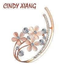 CINDY XIANG Korean Style Opal Flower Brooches for Women Rhin