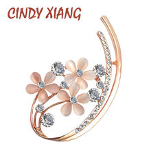 CINDY XIANG Stile Coreano Opale Brooches Del Fiore per Le Donne di Strass Set In Elegante Spilla Spilli Vestito Da Estate Accessori Buon Regalo(China)