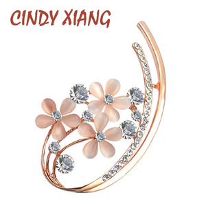 CINDY XIANG Korean Style Opal Flower Brooches for Women Rhinestone Set In Elegant Brooch Pins Summer Dress Accessories Good Gift(China)