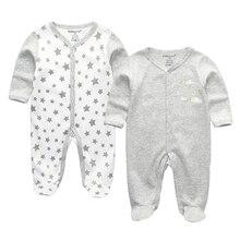 תינוק בני Rompers חמוד קריקטורה 100% כותנה ארוך שרוול תינוק בגדי עבור 0 12 m Infantil יילוד תינוקת בגדי Roupas דה bebe