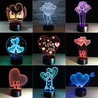Presente do dia dos namorados 3d lâmpada led night light 7 cores lâmpada de mesa casa decoração sensor toque luminarias para presente da esposa dropship