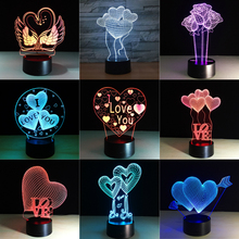 Valentines Day Gift 3D Lamp LED Night Light 7 Colors Table Lamp Home Decor Bulb Touch Sensor Luminarias for Wife Gift Dropship