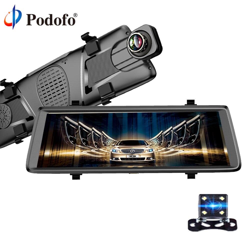Podofo 10 entièrement Tactile IPS 3G Voiture DVR Caméra Miroir Android 5.0 Navigateurs GPS Bluetooth WIFI FHD Double Objectif DashCam Enregistreur