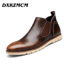 2016 Leather Men Boots, Brand Men Ankle Boots, Casual Genuine Leather Design Cowboy Boots, Men Shoes