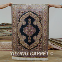 Yilong 2.7'x4' Tabriz silk carpet dark blue vantage exquisite Turkish handmade silk rug (0508)