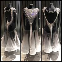 Ballroom dance competition dresses Pearl accessories Black Modern dance dress Bow tie Silk ribbon Waltz dance dress