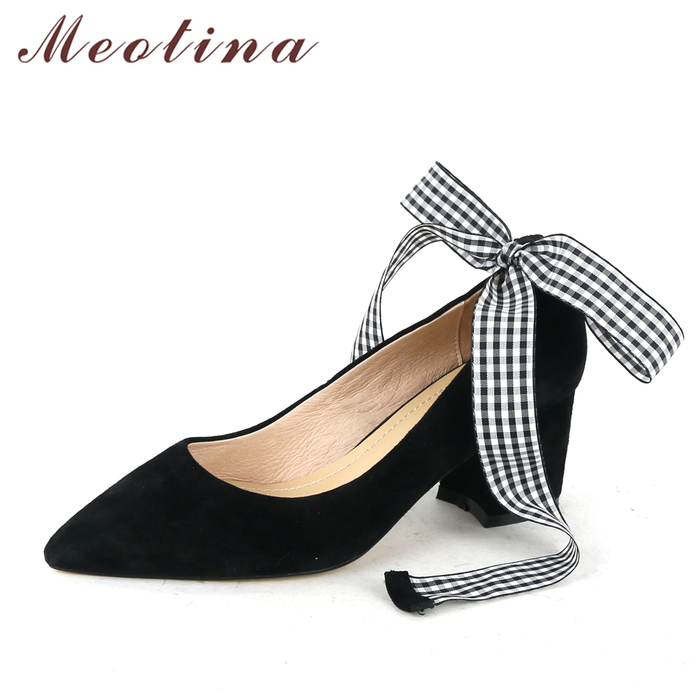 Meotina Genuine Leather Women Shoes Female Plaid Party Shoes Block Heel Bow Strap High Heels Kid Suede Ladies Pumps 2018 Spring meotina genuine leather women shoes female plaid party shoes block heel bow strap high heels kid suede ladies pumps 2018 spring