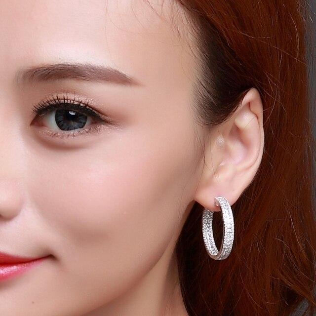 Love Deluxe Earrings-On sales Elegant evening Hoop earrings for women Synthetic White Cubic Zircon Top Quality