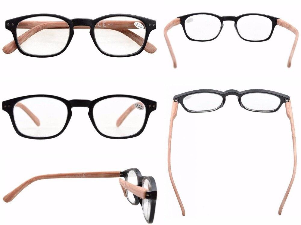 5-pack Spring Hinge Wood-grain Printed Arms Reading Glasses Sun Readers +0.50---+4.00 KFM101-117
