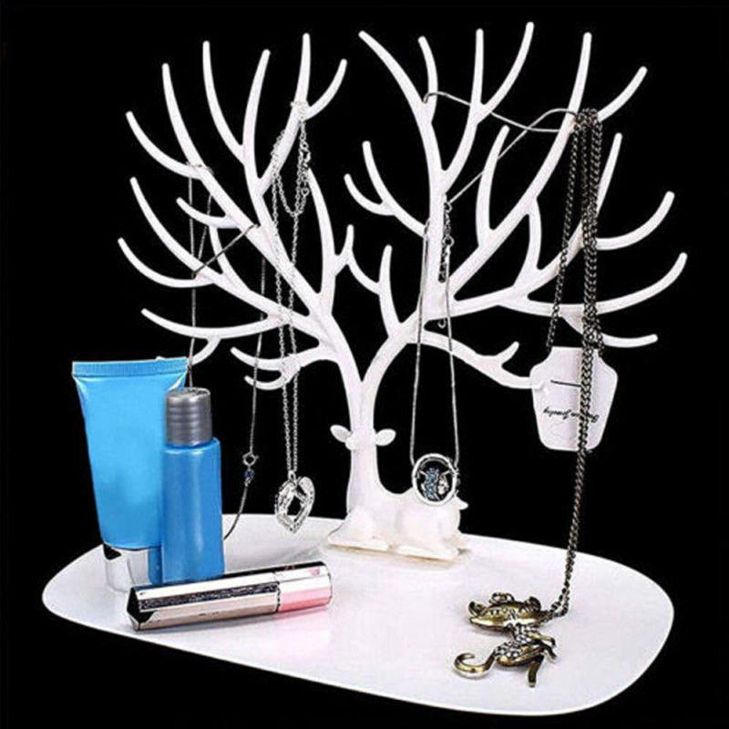 Jwelry Organizer Necklace Earring Deer Stand Display Holder Show Rack Display Necklace Organizer White jewellery holder