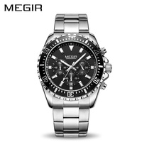 MEGIR Luxury Business Quartz Watch Men Brand Stainless Steel Chronograph Army Military Wrist Watch Clock Relogio