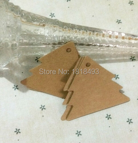 free shipping 500 pcs a lot 5.3x6cm blank Christmas tree paper tags/gift decorated card/baking price tags/DIY festival cards