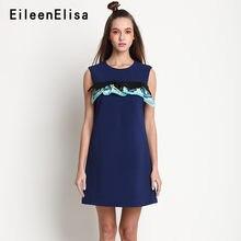 f5d86bb48ce 2018 robe de piste à volants bleu marine sans manches a-ligne robe o-cou  Mini robes