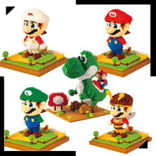 LNO Mini blocks mini super mario yoshi action figures plastic building cartoon diy model bricks funny educational toys for kids