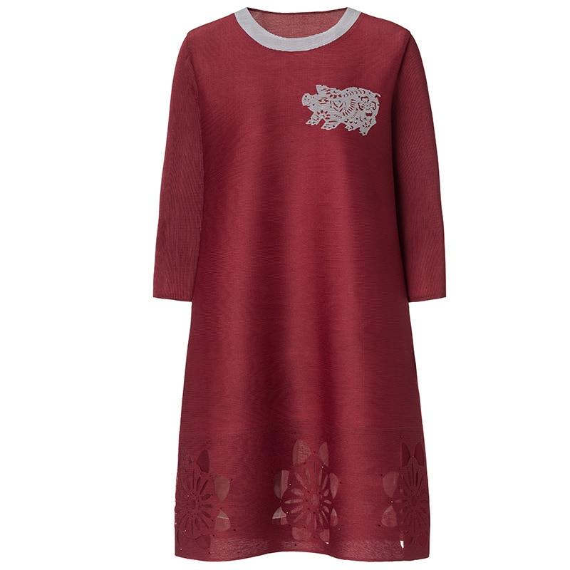 Green 2019 Perlée De Manches Patchwork Mesh Lâche Rond Nouvelle Broderie Col Robe Mode Trimestre red La Trois Plus Femmes Taille burgundy pink tw47xqtUrZ
