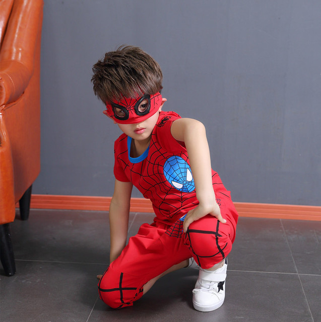 Boys Clothes Boutique Kids Clothing 2019 Spiderman Summer Set Classic Pop Casual Cotton Boy Red Two Piece Anime Costume 3-11Y