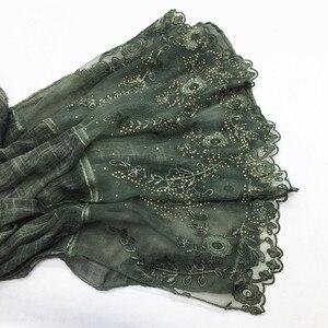 Image 5 - NOVA bordados flor cachecol hijab espumante moda mulheres brilhantes lenços lenços muçulmanos hijabs islâmicos xales silenciador marca de luxo