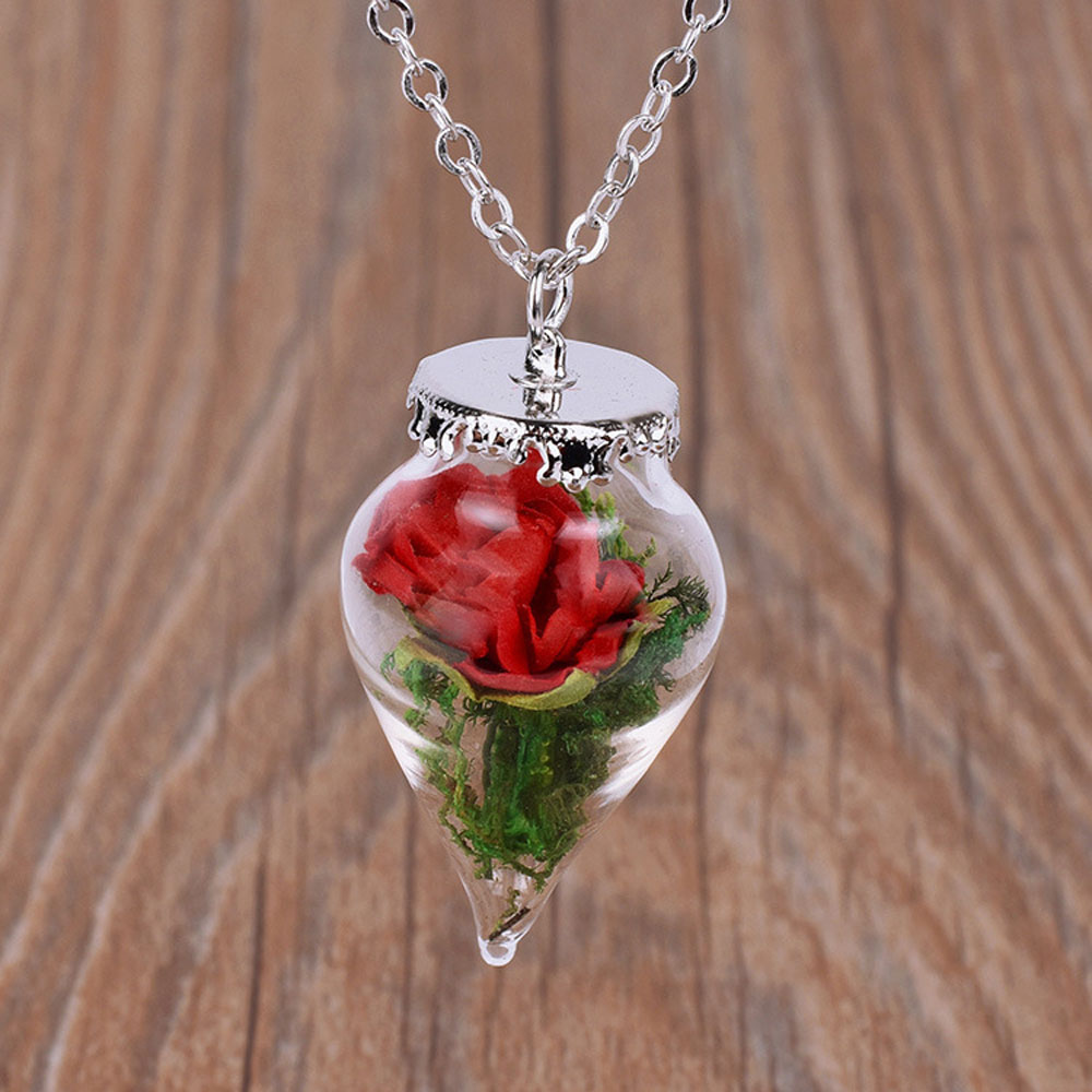 Houbian Beauty And The Beast Dry Flower Necklace Glass Romantic Original Red Rose Water Droplets Necklace Female Wholesale disney decoration birthday gifts beauty and the beast the little prince glass cover fresh preserved flowers rose children toys