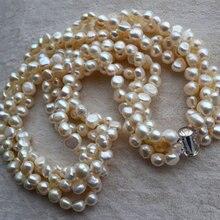 Идеальное жемчужное ожерелье, очаровательное 4 нити белого цвета в форме барокко Настоящее пресноводное жемчужное ожерелье, AA 6-7 мм 18 дюймов