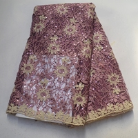 African beautiful design with sequins and beads of French mesh lace water soluble fabric for high quality party dress