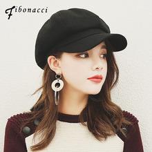 Fibonacci 2017 Retro High Quality Beret Hat Nylon Solid Color Newsboy Octagonal Female Cap For Women