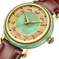 Zodiac Scale Sapphire Jade Wrist Watch Men Diamond Clock Jade+Stainless Steel Strap Wome Automatic Mechanical Watches As Gift