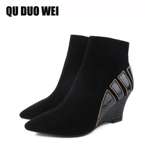 QUDUOWEI New Short Barrel Genuine Leather Ankle Boots For Women Pointed Toe Wedge Boots Black Women's Fashion Shoes Botas Mujer