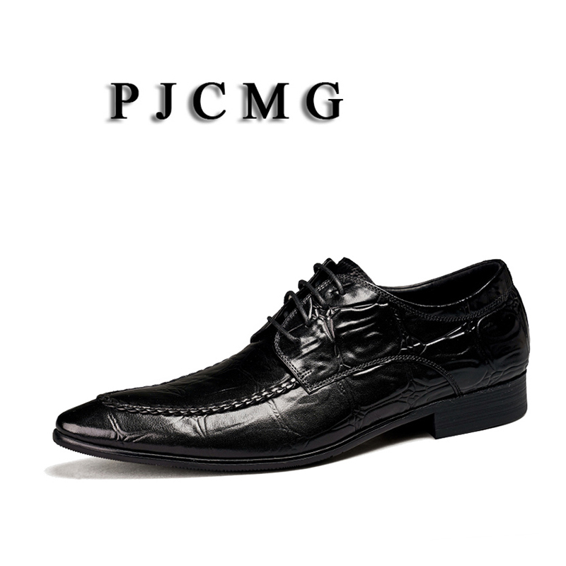 PJCMG New Fashion Crocodile Design Handmade Genuine Leather Lace-Up Pointed Toe Black/Brown Business Dress Men Oxford ShoesPJCMG New Fashion Crocodile Design Handmade Genuine Leather Lace-Up Pointed Toe Black/Brown Business Dress Men Oxford Shoes
