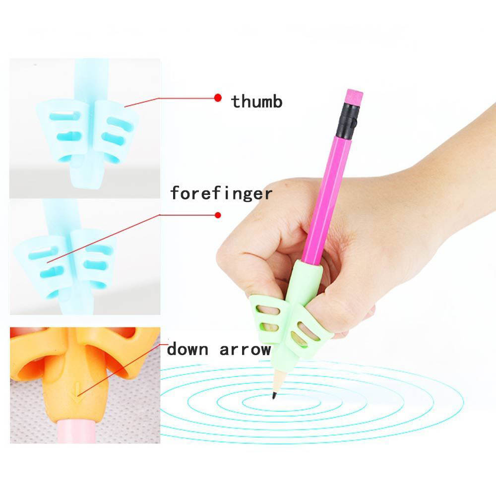 Two-Finger Pen Grip Silicone Baby Learning Writing Tool Writing Pen Writing Correction Device Children Stationery Set 3pcs