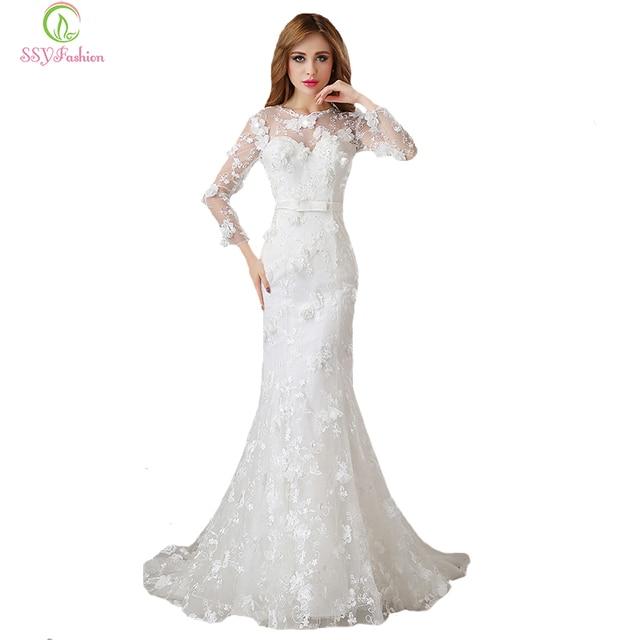 Sexy mermaid wedding dress 2017 sweet ssyfashion baru pengantin putih renda  bunga lengan panjang fishtail gaun 68afb3ffd710